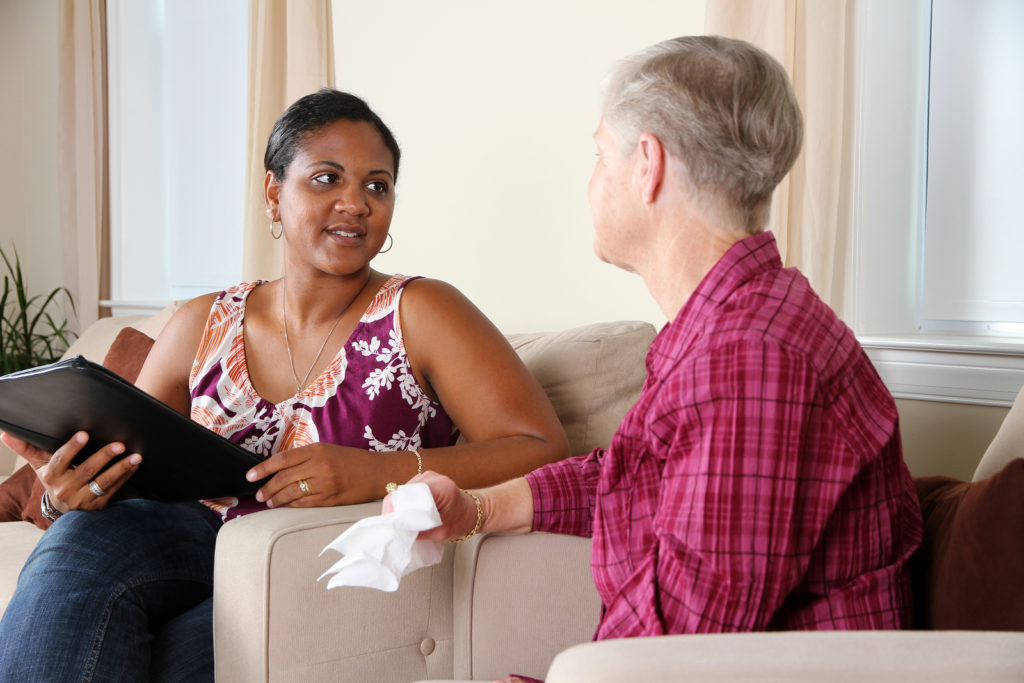 A person going through their counseling session